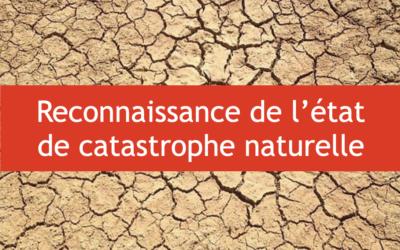 Reconnaissance Catastrophe Naturelle pour mouvements de terrain liés à la sécheresse et réhydratation des sols du 01/04/20 au 30/09/20